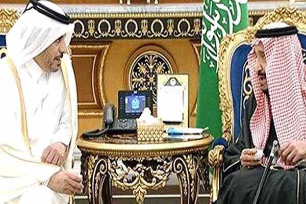 ملاقات ملک سلمان با نخست وزیر قطر در ریاض
