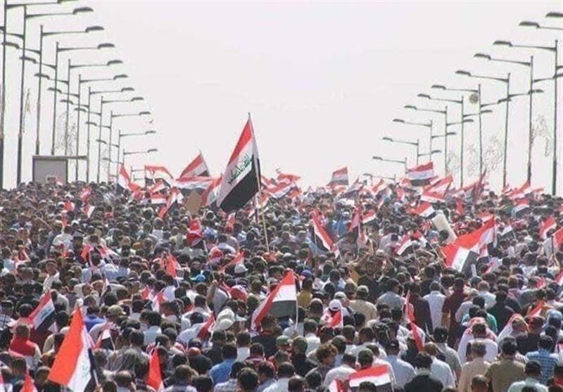 زنجیره انسانی چند کیلومتری تظاهرات میلیونی ضد اشغالگری عراق