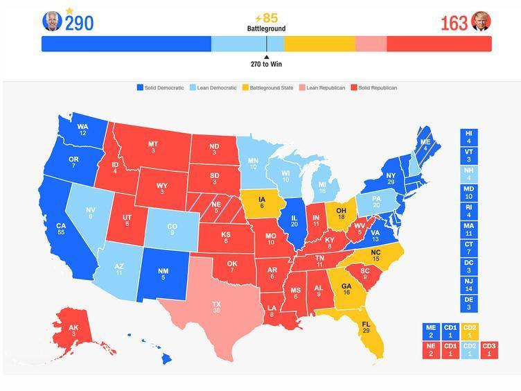 آخرین شرایط رقابت ترامپ و بایدن (
