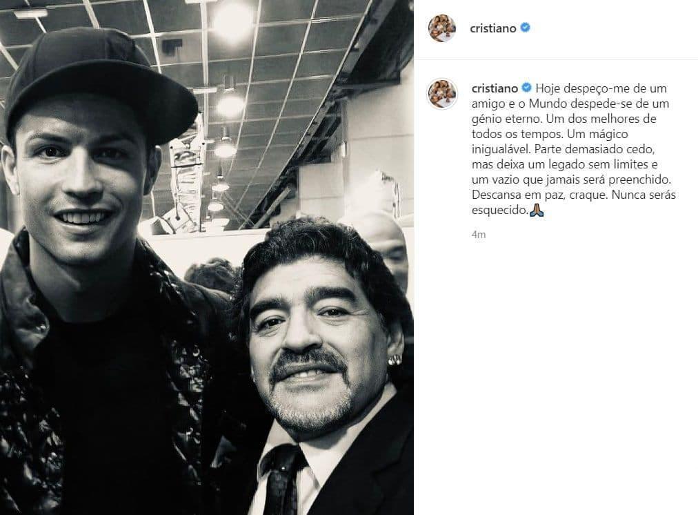 کریستیانو رونالدو فوت مارادونا را تسلیت گفت